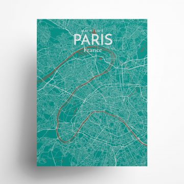 "Paris city map poster in Nature of size 18"" x 24"""
