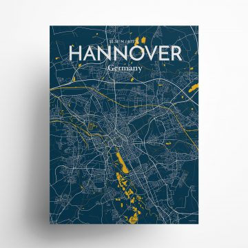 "Hannover city map poster in Amuse of size 18"" x 24"""