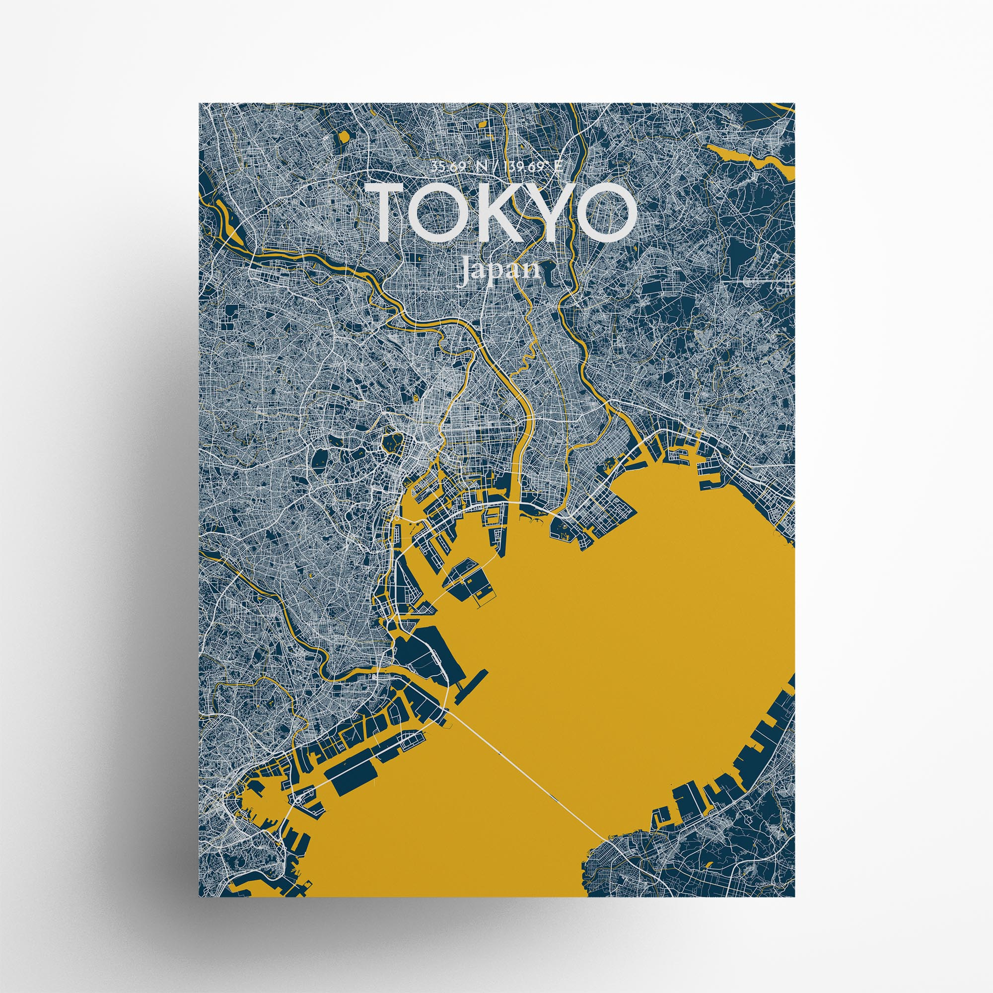 "Tokyo city map poster in Amuse of size 18"" x 24"""