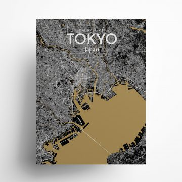 "Tokyo city map poster in Luxe of size 18"" x 24"""