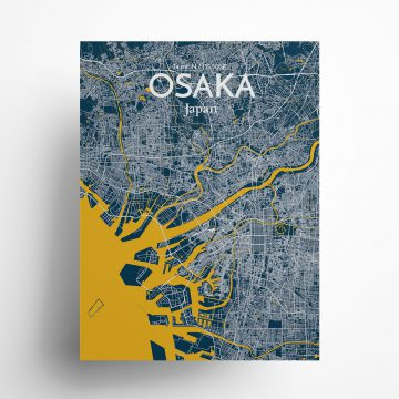 "Osaka city map poster in Amuse of size 18"" x 24"""
