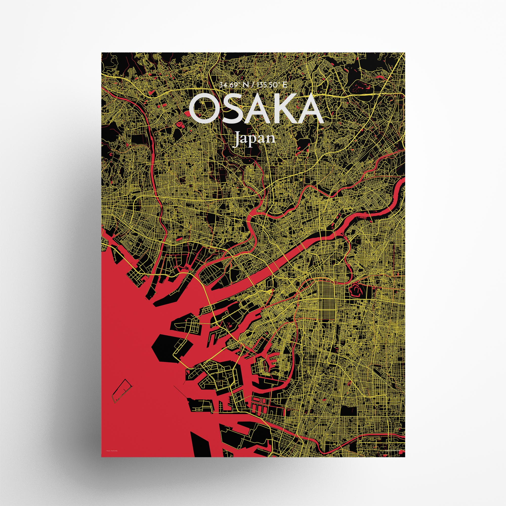 "Osaka city map poster in Contrast of size 18"" x 24"""