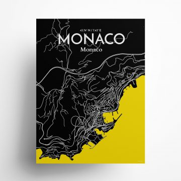 "Monaco city map poster in Times of size 18"" x 24"""
