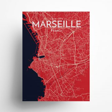 "Marseille city map poster in Nautical of size 18"" x 24"""