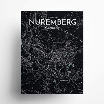 "Nuremberg city map poster in Midnight of size 18"" x 24"""