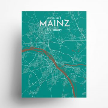 "Mainz city map poster in Nature of size 18"" x 24"""