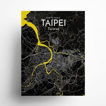 "Taipei city map poster in Times of size 18"" x 24"""