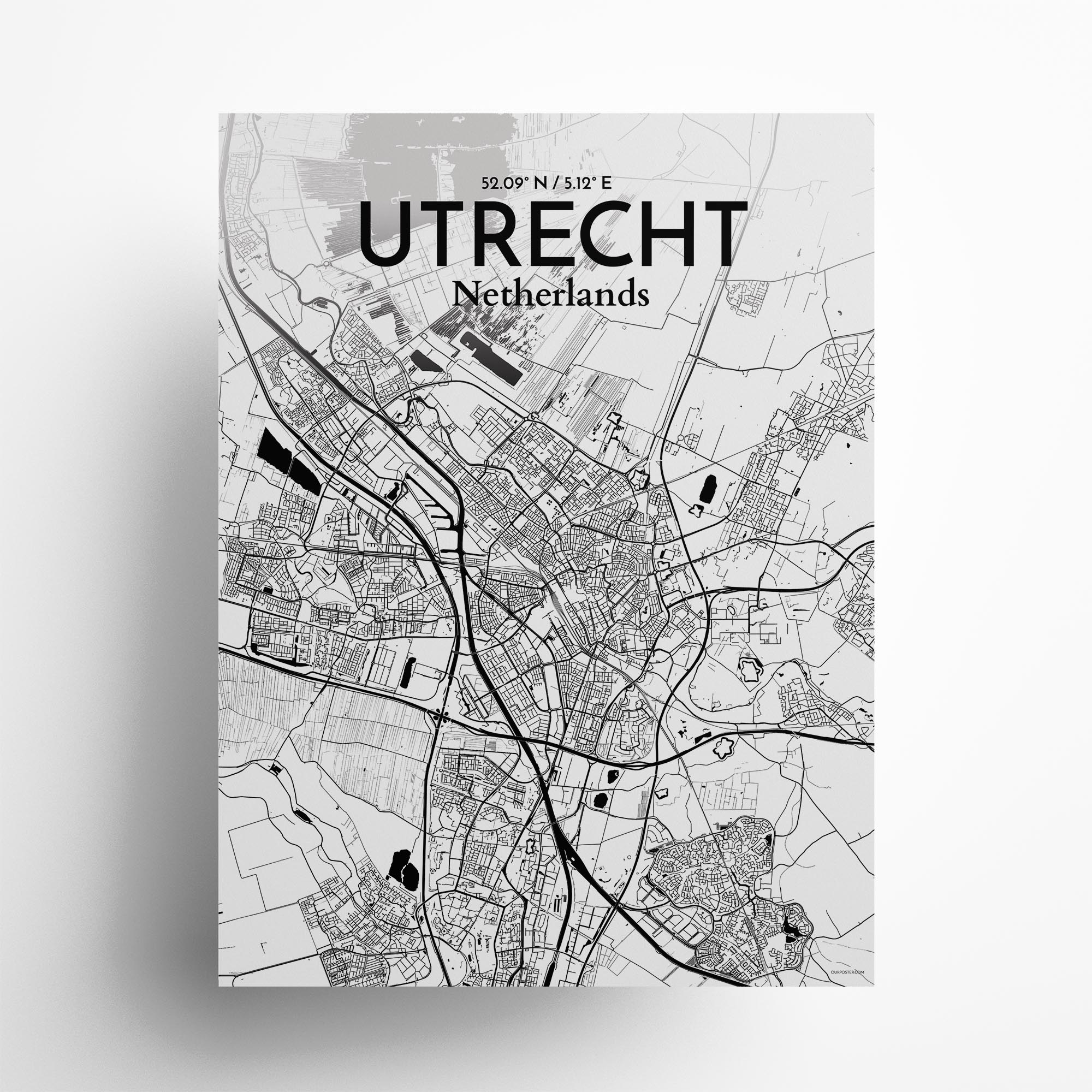 "Utrecht city map poster in Ink of size 18"" x 24"""