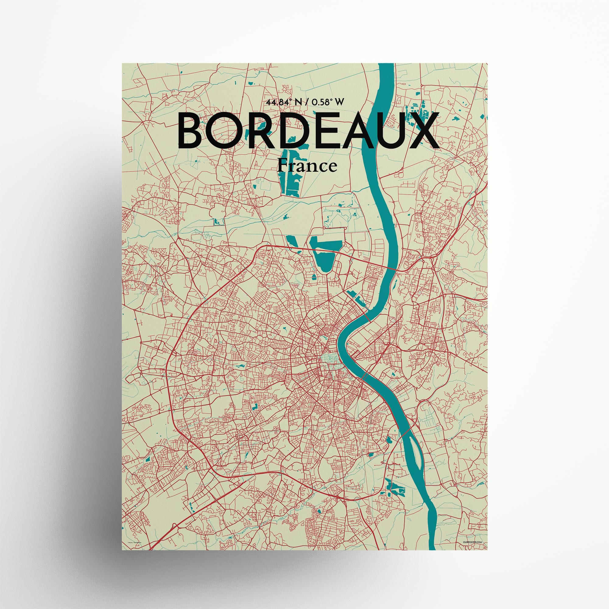 "Bordeaux city map poster in Tricolor of size 18"" x 24"""