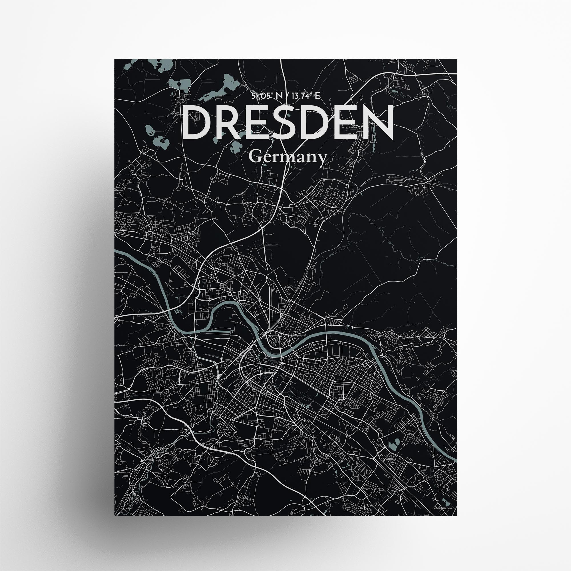 "Dresden city map poster in Midnight of size 18"" x 24"""