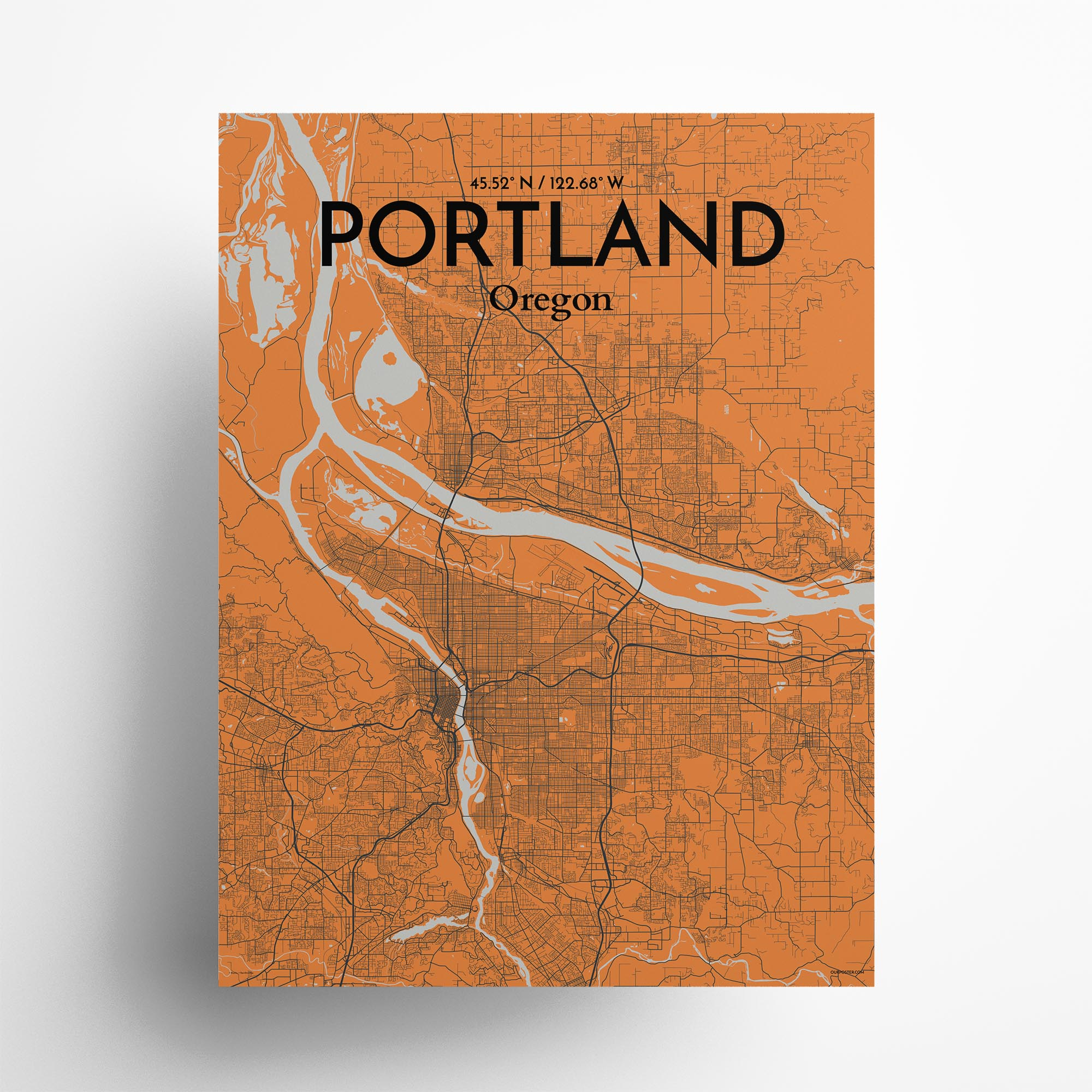"Portland city map poster in Oranje of size 18"" x 24"""