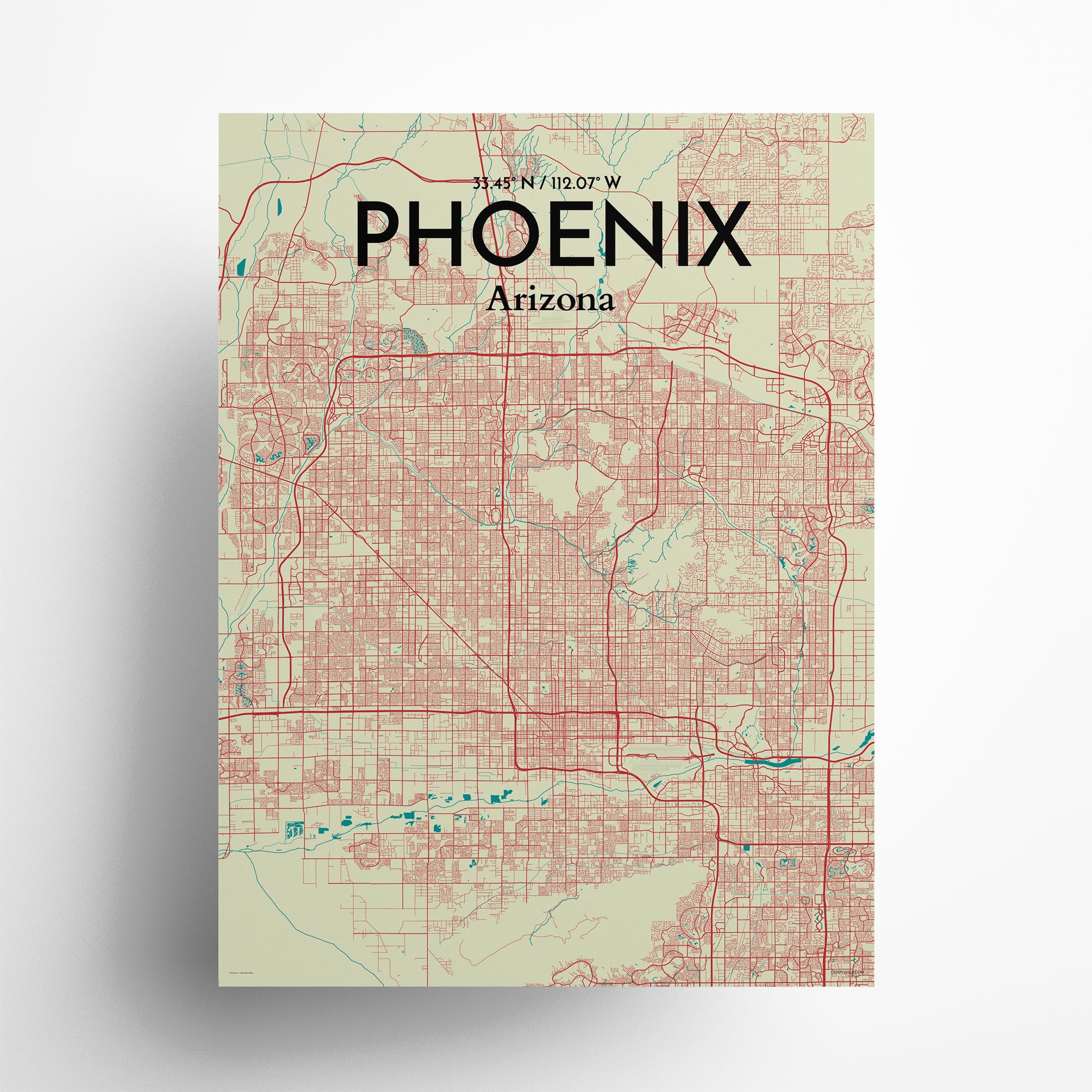 "Phoenix city map poster in Tricolor of size 18"" x 24"""