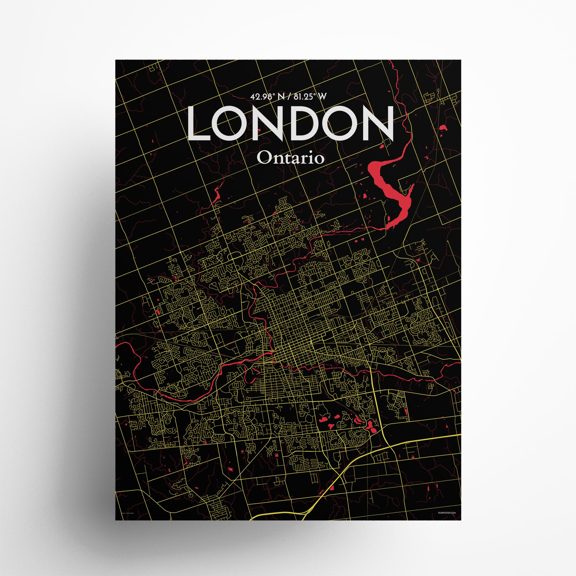"London city map poster in Contrast of size 18"" x 24"""